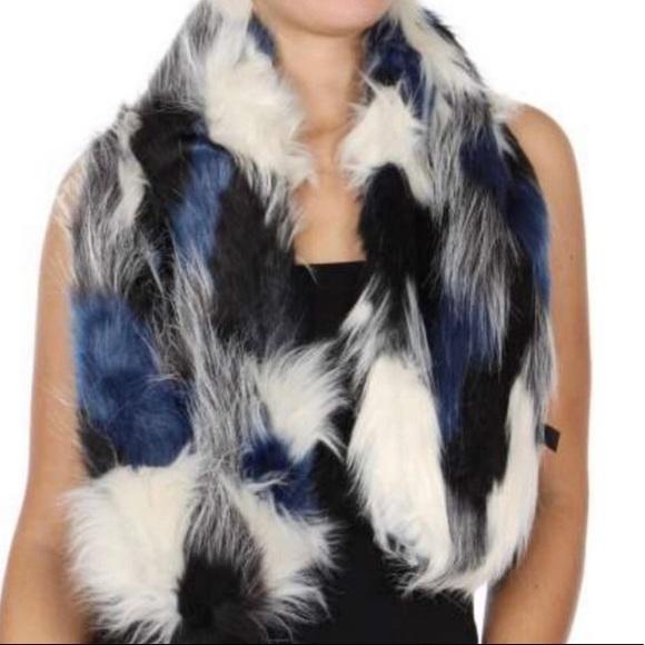 Designer Color Patch Faux Fur Scarf